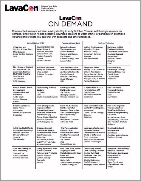 Program Schedule in Table Format